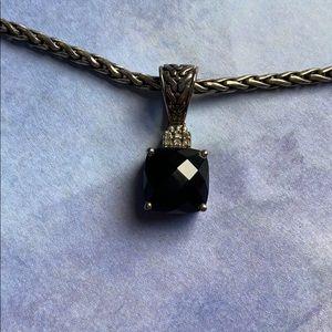 Balissima Effy Sterling Onyx Diamond Necklace